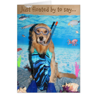 Golden Retriever Snorkeling Brithday Card