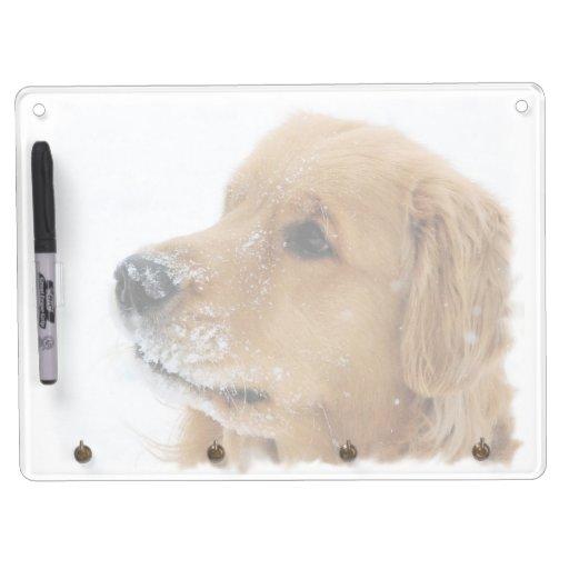 Golden Retriever Snow Dog Dry Erase Board