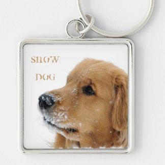Golden Retriever Snow Dog Keychain