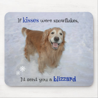 Golden Retriever Snowflake Kisses Mouse Pad