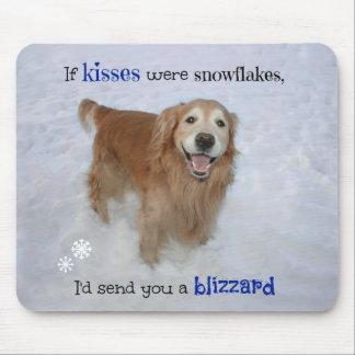 Golden Retriever Snowflake Kisses Mouse Pad