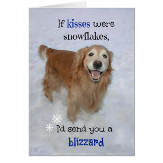 Golden Retriever Snowflake Kisses Valentine's Day Greeting Cards