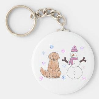 Golden Retriever & Snowman Keychain