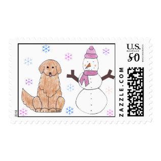 Golden Retriever & Snowman Postage at Zazzle