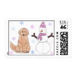 Golden Retriever & Snowman Postage