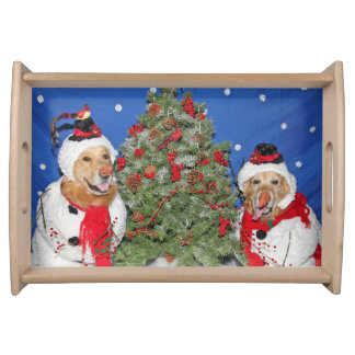 Golden Retriever Snowmen in the Woods Serving Tray