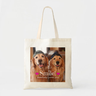 Golden Retriever Somebody Loves You Tote Bags