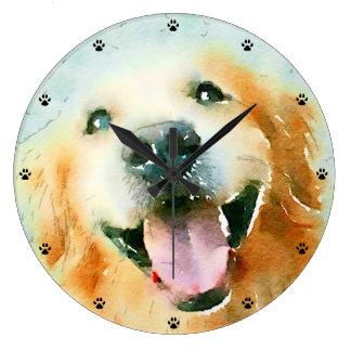 Golden retriever sonriente en acuarela relojes