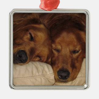 Golden Retriever Square Christmas Ornament