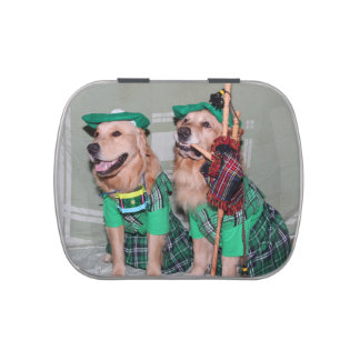 Golden Retriever St. Patrick's Day Bagpipers Candy Tin