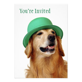 Golden Retriever St. Patrick's Day Invitation
