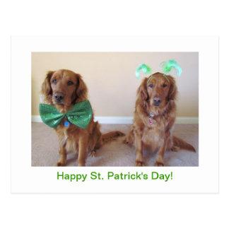 Golden Retriever St. Patrick's Day Postcard