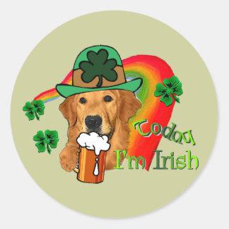 Golden Retriever St. Patrick's Day Round Stickers