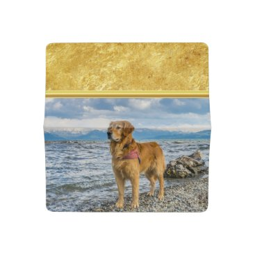 Golden Retriever standing on the blue ocean rocky Checkbook Cover
