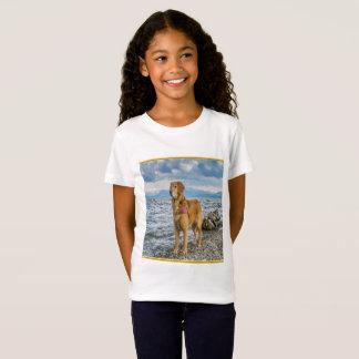 Golden Retriever standing on the blue ocean rocky T-Shirt