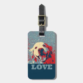 Golden Retriever Stylized Love Travel Bag Tags