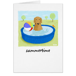"Golden Retriever ""Summertime"" Stationery Note Card"