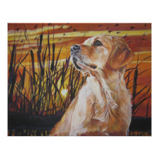 golden retriever sunset art print