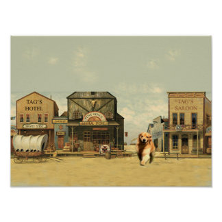 Golden Retriever Tag In Western Town Poster
