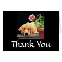 Golden Retriever Thank You Card Flower