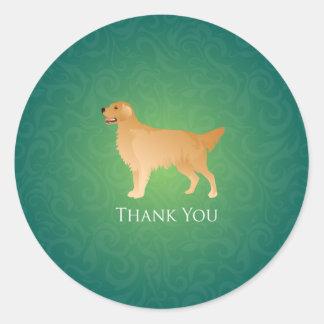 Golden Retriever Thank You Classic Round Sticker