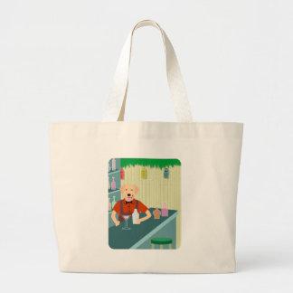 Golden Retriever Tiki Bar Canvas Bags