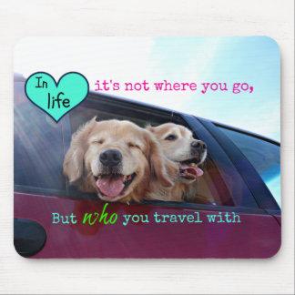 Golden Retriever Travel Friendship Mouse Pad
