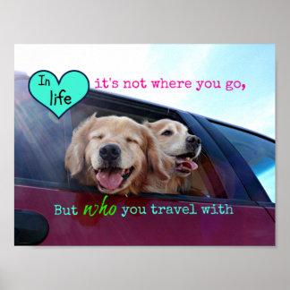 Golden Retriever Travel Friendship Posters