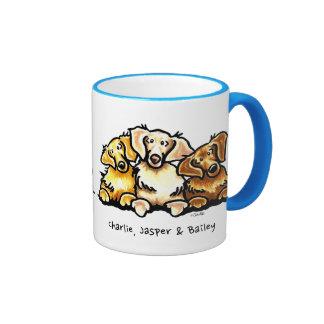 Golden Retriever Trio Personalized Ringer Mug