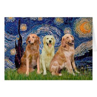 Golden Retriever Trio - Starry Night Card