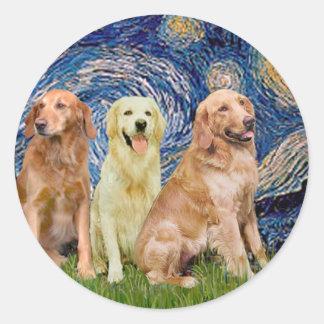 Golden Retriever Trio - Starry Night Classic Round Sticker