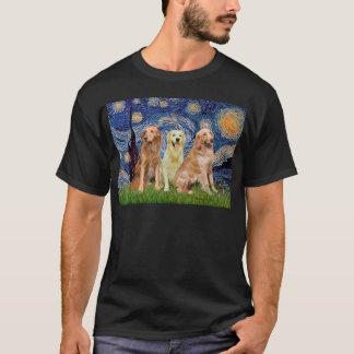 Golden Retriever Trio - Starry Night T-Shirt