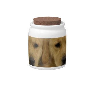 Golden Retriever Twins Candy Jar