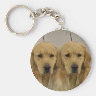 Golden Retriever Twins Keychain
