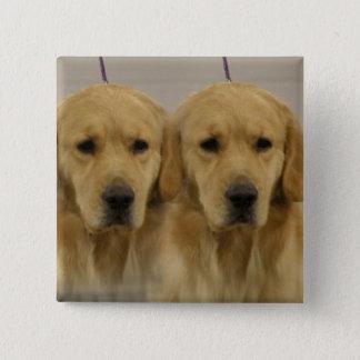 Golden Retriever Twins Square Pin