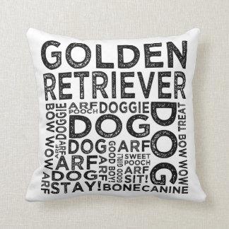 Golden Retriever Typography Throw Pillows