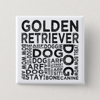 Golden Retriever Typography Pinback Button