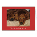 Golden Retriever Valentine's Day Card, Two Hearts Greeting Card