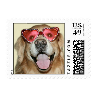 Golden Retriever Valentine's Day Postage Stamp