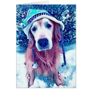 Golden Retriever Vibrant Blue Winter Wishes Art Card