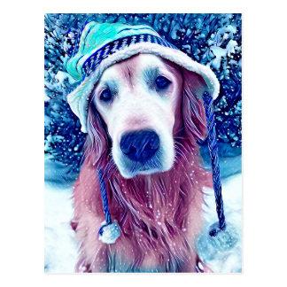 Golden Retriever Vibrant Blue Winter Wishes Art Postcard