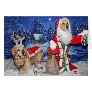 Golden Retriever Victorian Santa Christmas Card
