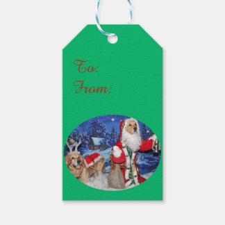 Golden Retriever Victorian Santa Christmas Gift Tags