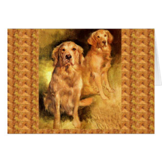 Golden Retriever  Vintage Christmas Card