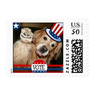 Golden Retriever VOTE Patriotic Postage Stamp