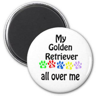 Golden Retriever Walks Design Magnet