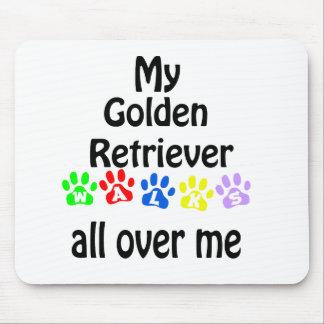 Golden Retriever Walks Design Mouse Pad