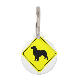 Golden Retriever Warning Sign Love Dogs Silhouette Pet Tag