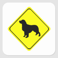 Golden Retriever Warning Sign Love Dogs Silhouette Square Sticker