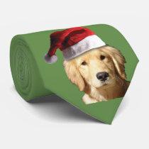 Golden Retriever Wearing a Santa Claus Hat Neck Tie